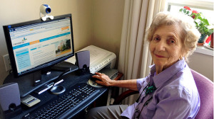 Bertha Kronenberg is one of many Canadian seniors taking to the Internet to keep in touch with friends and family. (Photo courtesy of Revera Inc.)
