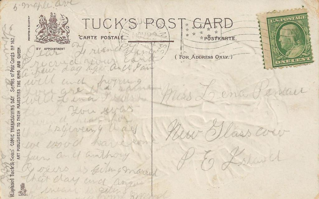 Back of vintage Thanksgiving postcard